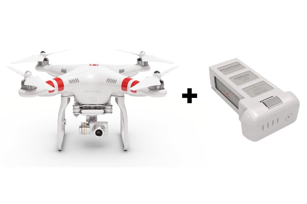 DJI Phantom 2 Vision+, extra akku + prop guards